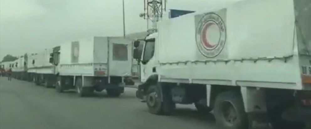 PHOTO: An image provided by the International Committee of the Red Cross, shows a convoy bringing supplies to Madaya, Syria.