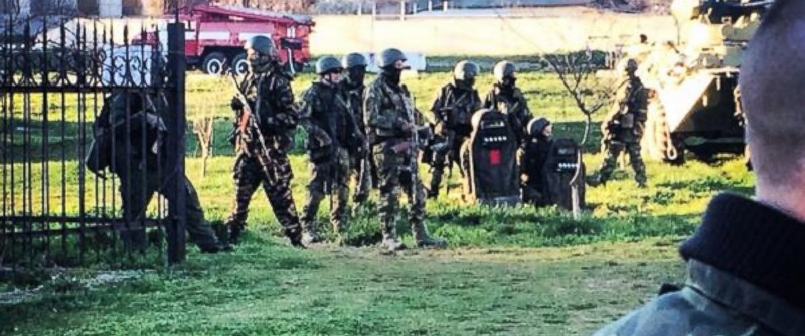 "PHOTO: @MarquardtA tweeted this photo on March 22, 2014, ""Some of the Russian special forces after they stormed Belbekbase."""