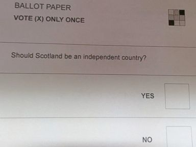 PHOTO: Scottish voters are marking these paper ballots for a referendum on independence.
