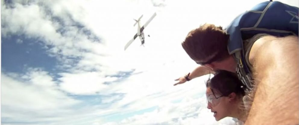 "PHOTO: Video of an October 2014 skydive in Thailand posted to YouTube by Forest Pullman, Feb. 6, 2015, appears to show a plane narrowly missing two skydivers in mid-air. The video is titled ""Near death airplane collision with skydiver in free fall."""
