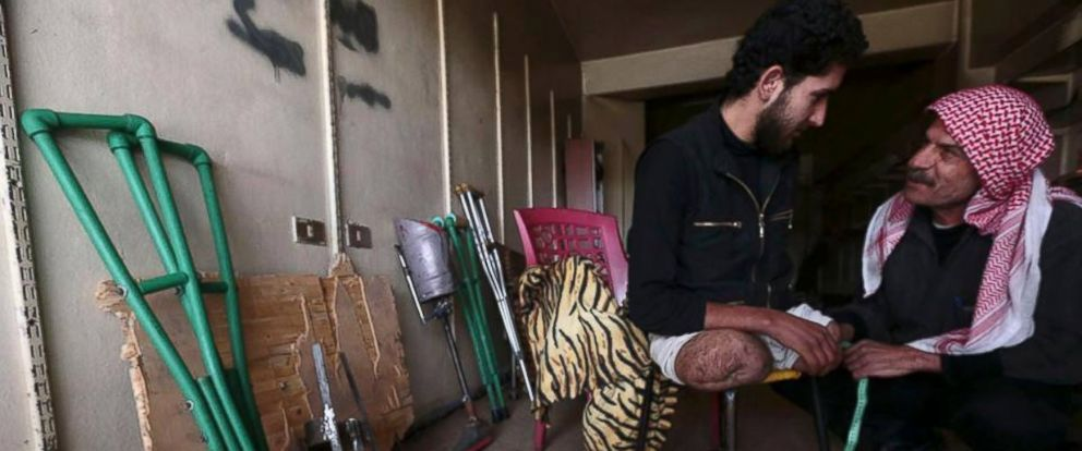 PHOTO: In Douma, two men have taken it upon themselves to create prosthetic limbs for injured locals.