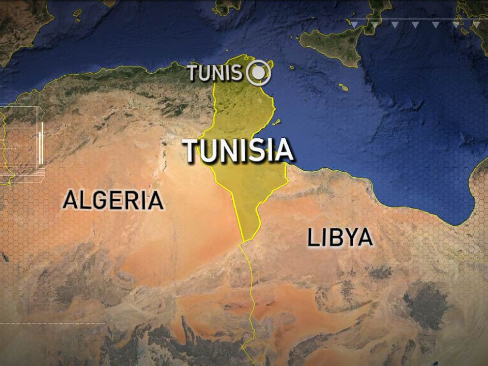 PHOTO: A map showing the location of the city of Tunis in Tunisia.