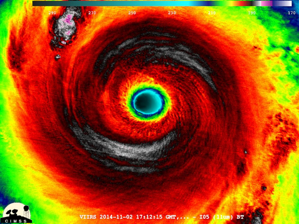 PHOTO: The storm temperature structure within the eye wall structure region of Typhoon Nuri is seen in this image.
