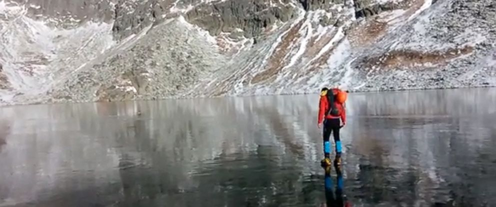 """PHOTO: The video, titled """"Walking on beautiful clean ice in Slovakian Mountains,"""" is described as being taken in the High Tatras Mountains in Slovakia."""