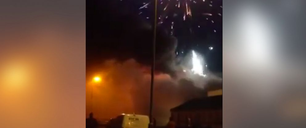 PHOTO: A large blaze at a fireworks factory in Stafford, United Kingdom, sent two people to the hospital, Oct. 30, 2014.