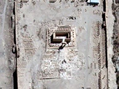 PHOTO:This satellite image provided by the UN from August 27 shows the Temple of Bel in the city of Palmyra, Syria, before ISIS militants reportedly destroyed it.