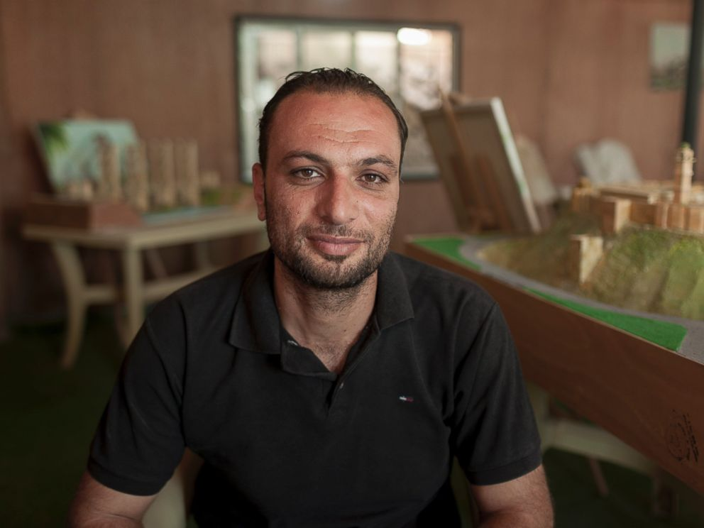 PHOTO: Ahmad Hariri, who initially brought the group together and helps source their materials, says the project can help educate children in the camp about their homeland.