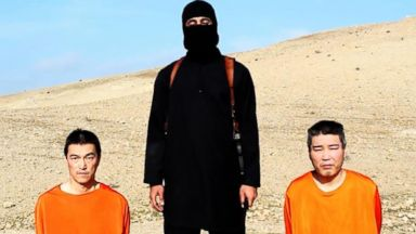 PHOTO: Two purported Japanese citizens appear in a video released by the terror group ISIS overnight Jan. 19, 2015.