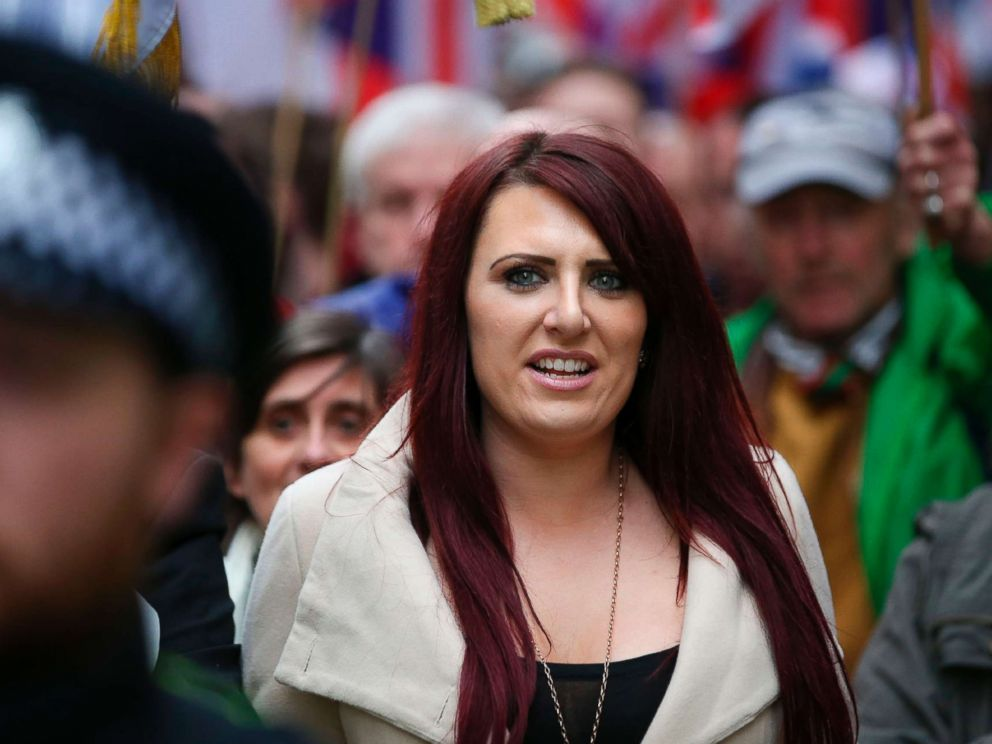 PHOTO: Jayda Fransen, acting leader of the far-right organisation Britain First marches in central London on April 1, 2017.