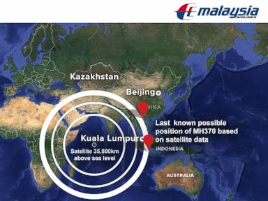 PHOTO: The search area for Malaysia Airlines Flight MH370 now includes two corridors: one stretching from approximately the border of Kazakhstan and Turkmenistan to northern Thailand and another stretching across Indonesia to the southern Indian Ocean.