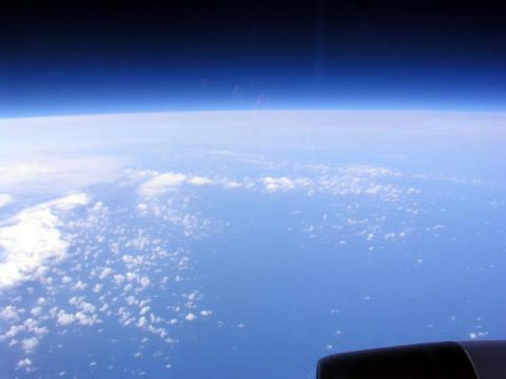 PHOTO: A crew member on a NASA WB-57 flight snaps a photo of the earth from 60,000 feet.