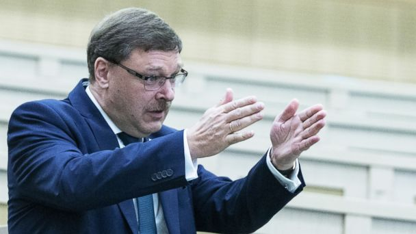 PHOTO: Russian Federation Council member Konstantin Kosachev gestures at a meeting of the Russian Federation Council, Upper House of the Russian Parliament, March 30, 2016, in Moscow, Russia.