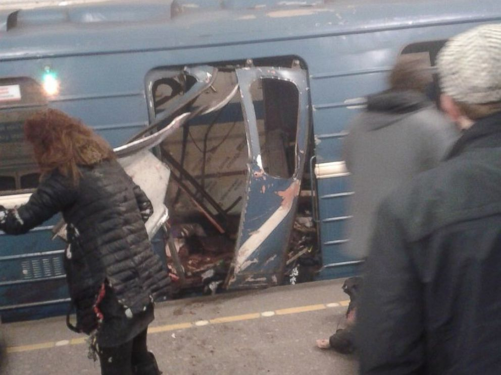 PHOTO: This photo taken on April 3, 2017 shows the blast site at a metro station in St. Petersburg, Russia.