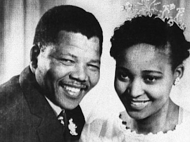 PHOTO: South African anti-apartheid leader and African National Congress (ANC) member Nelson Mandela shown in 1957 posing with his wife Winnie during their wedding.