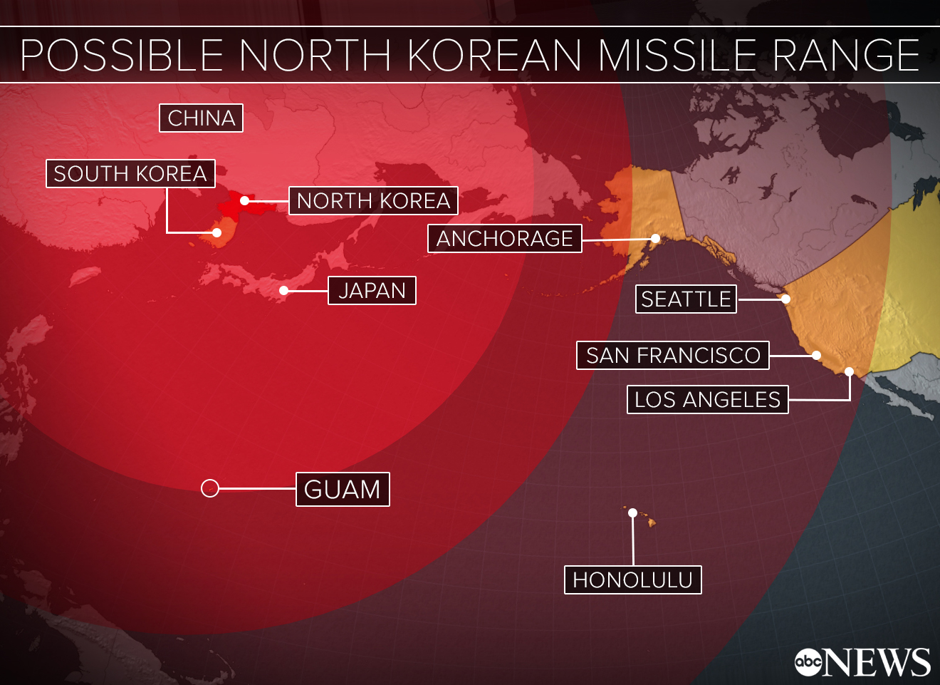How A North Korean Attack Could Play Out Analysts ABC News - North korea missile hit map in us
