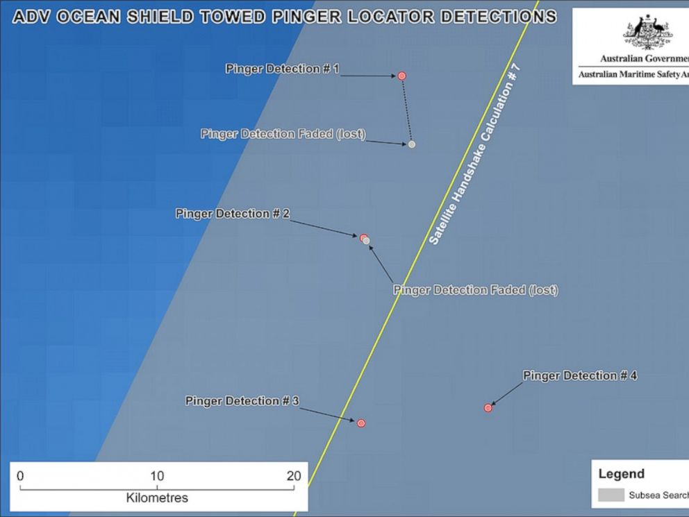 PHOTO: Maps released by Australias Joint Agency Coordination Centre show the location of signals detected by a pinger locator towed by the Ocean Shield.