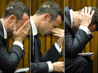 PHOTO: Oscar Pistorius reacts to testimony on the fifth day of his trial at the high court in Pretoria, South Africa, Friday, March 7, 2014.