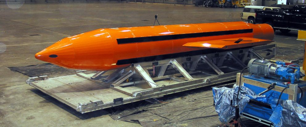 PHOTO: A Massive Ordnance Air Blast (MOAB) weapon is prepared for testing at the Eglin Air Force Armament Center, on March 11, 2003.