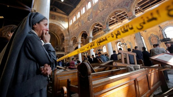 PHOTO: A nun cries as she stands at the scene inside Cairo's Coptic cathedral, following a bombing, in Egypt, Dec. 11, 2016.