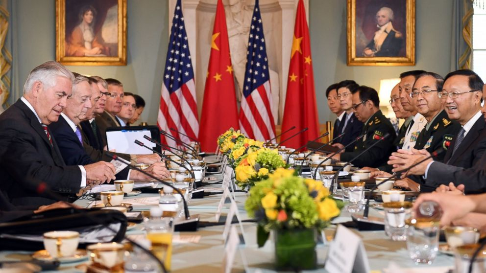 PHOTO: Chinese State Councilor Yang Jiechi (1st R) co-chairs a diplomatic and security dialogue with Secretary of State Rex Tillerson (1st L) and Secretary of Defense James Mattis (2nd L) in Washington, June 21, 2017.