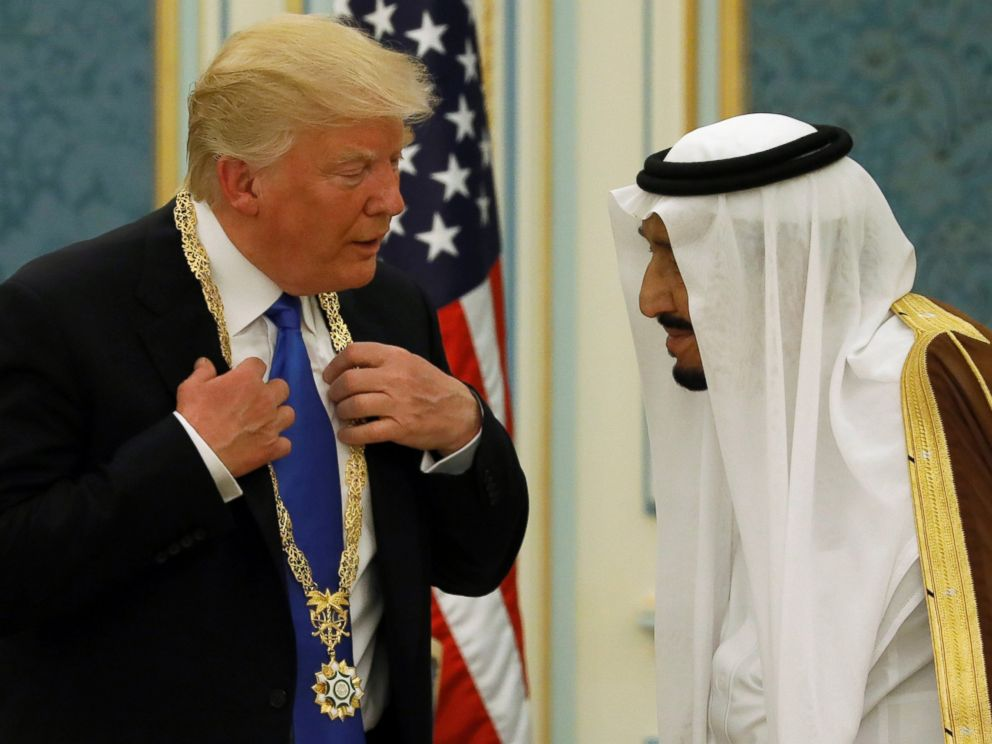 PHOTO: Saudi Arabias King Salman bin Abdulaziz Al Saud (R) presents President Donald Trump with the Collar of Abdulaziz Al Saud Medal at the Royal Court in Riyadh, Saudi Arabia, May 20, 2017.