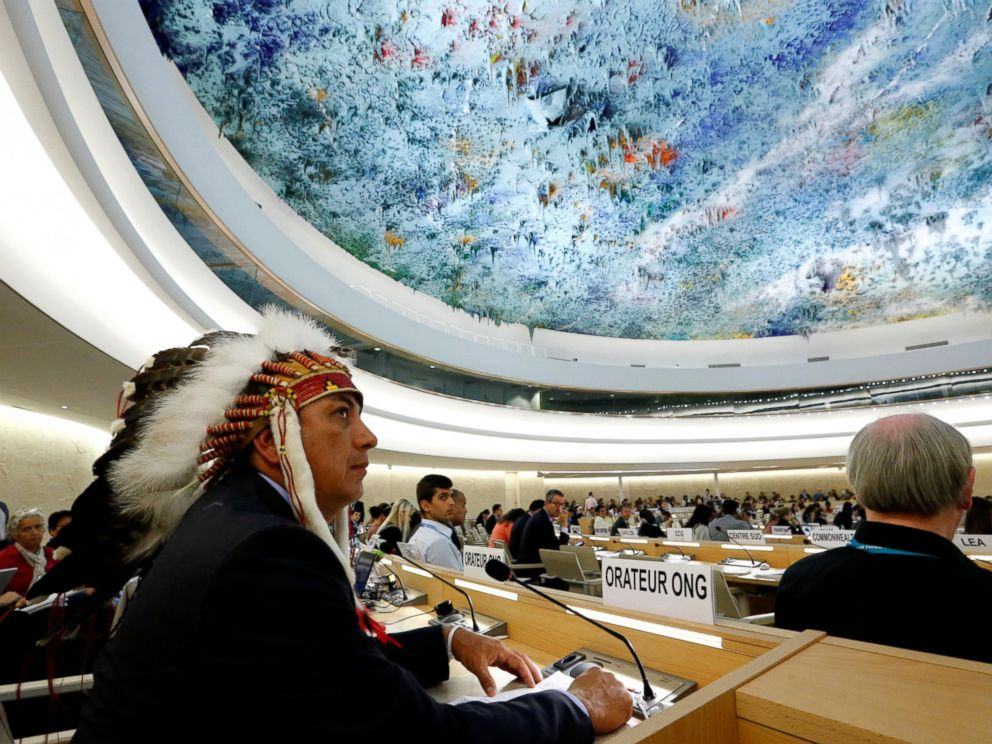 PHOTO: Dave Archambault II, chairman of the Standing Rock Sioux tribe, waits to give his speech against the Energy Transfer Partners Dakota Access oil pipeline during the Human Rights Council at the United Nations in Geneva, Sept. 20, 2016.