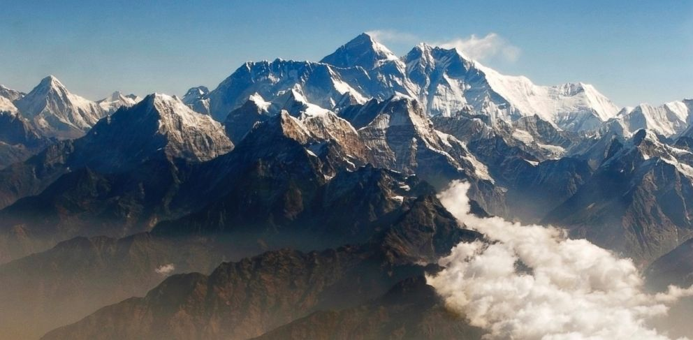 PHOTO:In this file photo from, April 24, 2010,  Mount Everest, center, is seen from  the air during a mountain flight from Kathmandu.