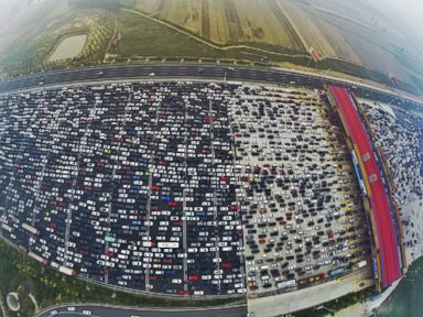 Traffic Jam Traps Thousands of Cars on 50-Lane Highway