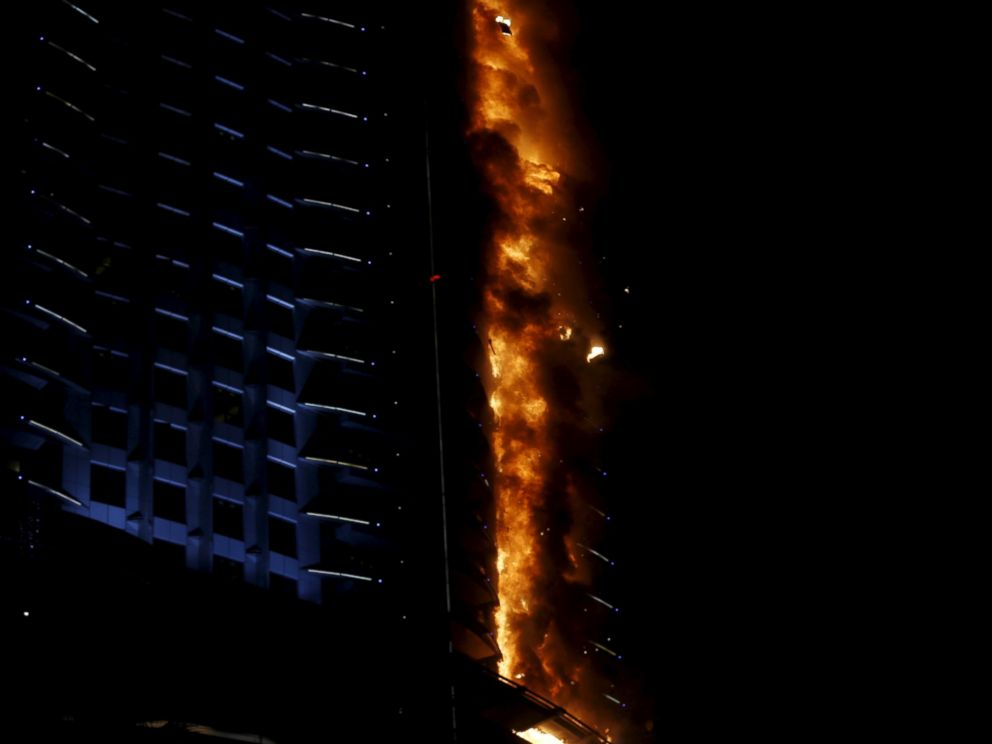 PHOTO: A fire engulfs The Address Hotel in downtown Dubai in the United Arab Emirates Dec. 31, 2015