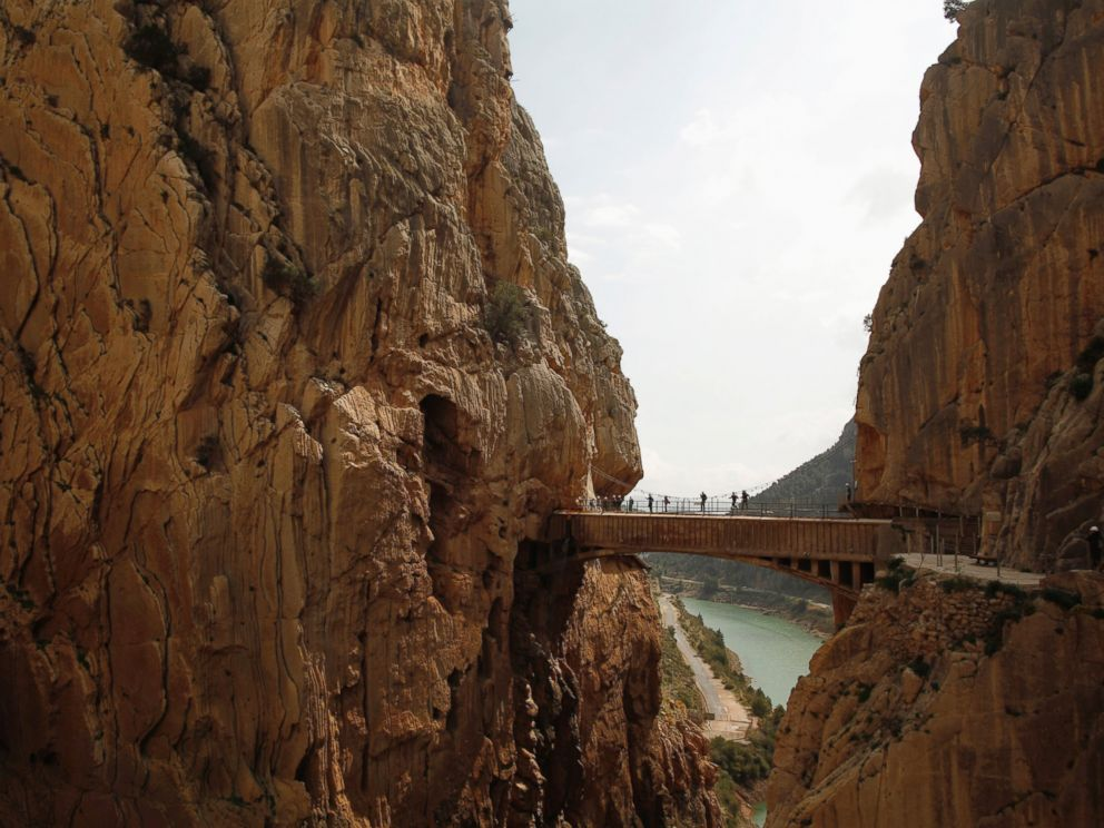 PHOTO: Journalists walk along the new Caminito del Rey (The Kings Little Pathway) in El Chorro-Alora, near Malaga, southern Spain March 15, 2015.