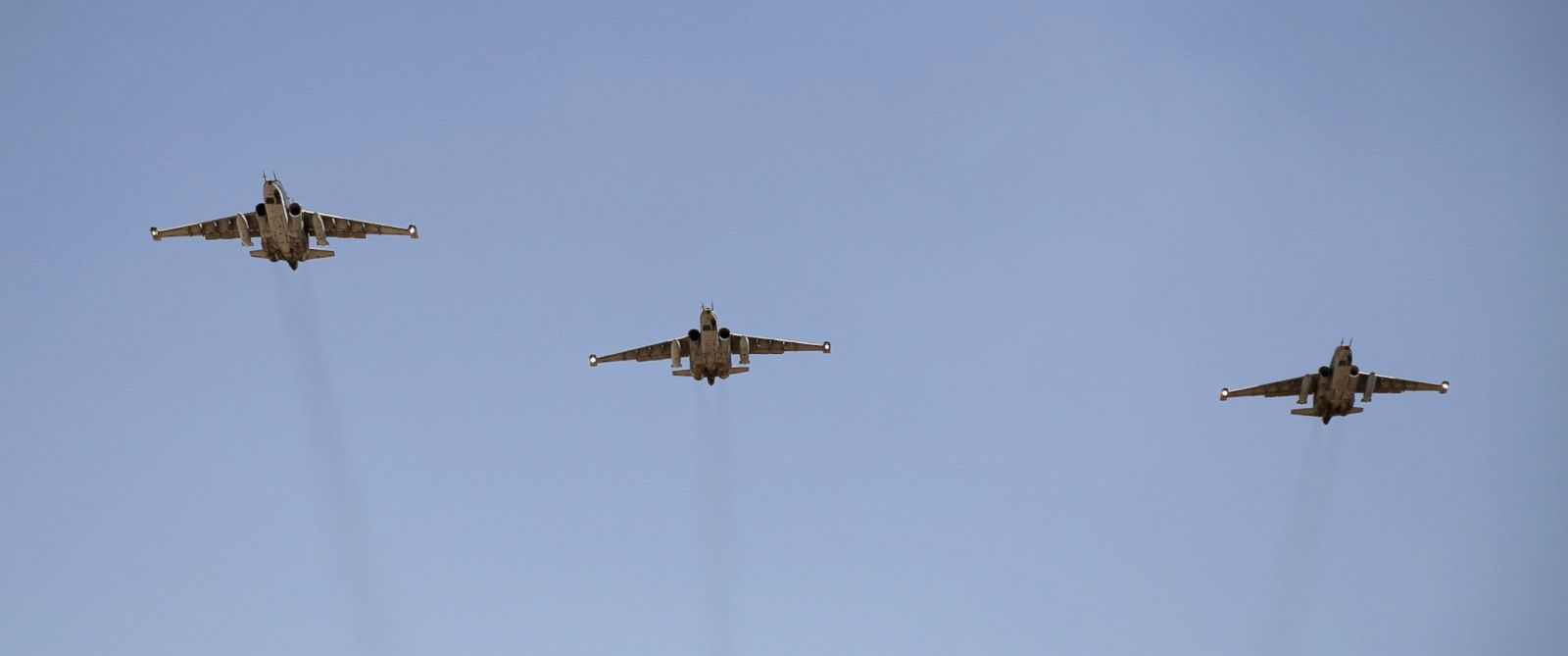 PHOTO: Two Ukrainian Sukhoi SU-25 fighter jets were shot down today, the Ukrainiain defense ministry says. In this file photo, Sukhoi SU-25 planes fly over a Bagdhad airport earlier this month.