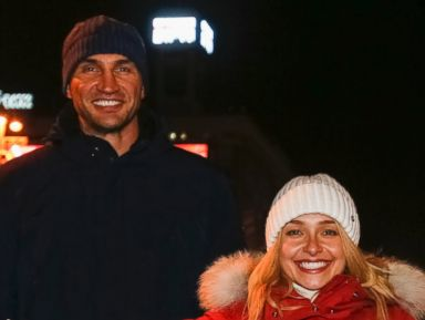 PHOTO: Heavyweight boxing world champion Vladimir Klitschko, left, of Ukraine and his fiancee U.S. actress Hayden Panettiere, pose as they visit supporters of Ukrainian EU integration during a rally in Kiev Dec. 7, 2013.