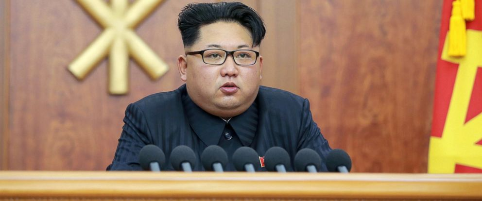 PHOTO: North Korean leader Kim Jong Un gives a New Years address for 2016 in Pyongyang, in this undated photo released by Kyodo, Jan. 1, 2016.