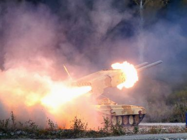 PHOTO: A Russian TOS-1 Buratino multiple rocket launcher fires during the Russia Arms Expo 2013 9th international exhibition of arms, military equipment and ammunition, in the Urals city of Nizhny Tagil, Sept. 25, 2013.