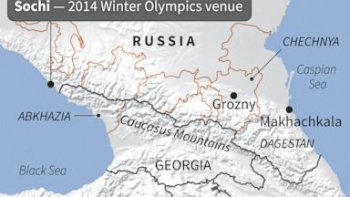 PHOTO: Sochi and the surrounding Caucasus mountain range and Russian regions of Chechnya and Dagestan.