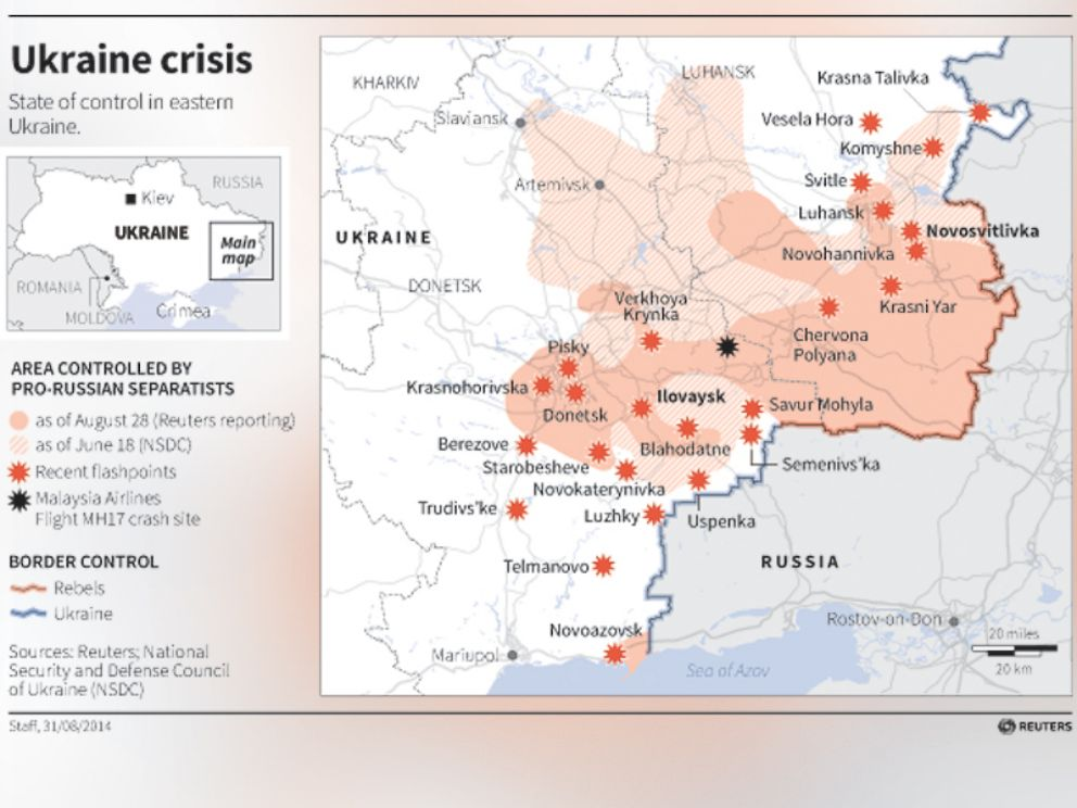 PHOTO: A map of the ongoing conflict in Ukraine.