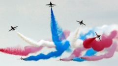 PHOTO: The Royal Air Force aerobatic team, the Red Arrows, perform during The Royal International Air Tattoo at the RAF in Fairford, Great Britian, July 11, 2014.