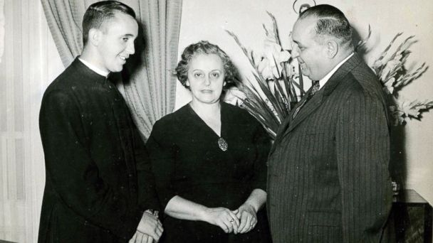 PHOTO: Argentine Cardinal Jorge Bergoglio, now Pope Francis, is pictured with his mother Maria Regina Sivori and his father Mario Jose, right, in this 1958 photo courtesy of the Popes sister Maria Elena in Buenos Aires.