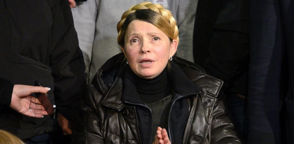 PHOTO: Ukrainian opposition leader Yulia Tymoshenko talks to the media upon her arrival at the airport in Kiev Feb. 22, 2014.
