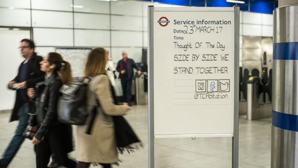PHOTO:After the Westminster attack, London Underground staff leave messages on Quote of the Day boards, March 23, 2017.