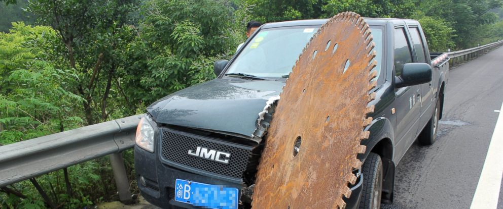 PHOTO: A view of the accident site after a massive circular saw blade smashed into the front of a pickup truck on the Chongqing-Guizhou Expressway in Chongqing, China, June 17, 2015.