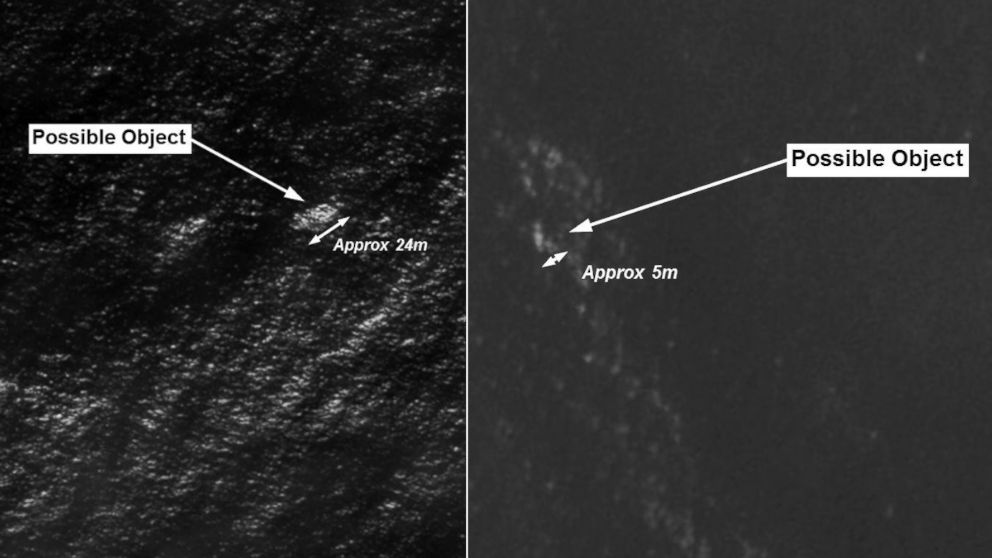 PHOTO: Satellite images released by the Australian government show possible objects in the Indian Ocean that search crews are trying to locate.