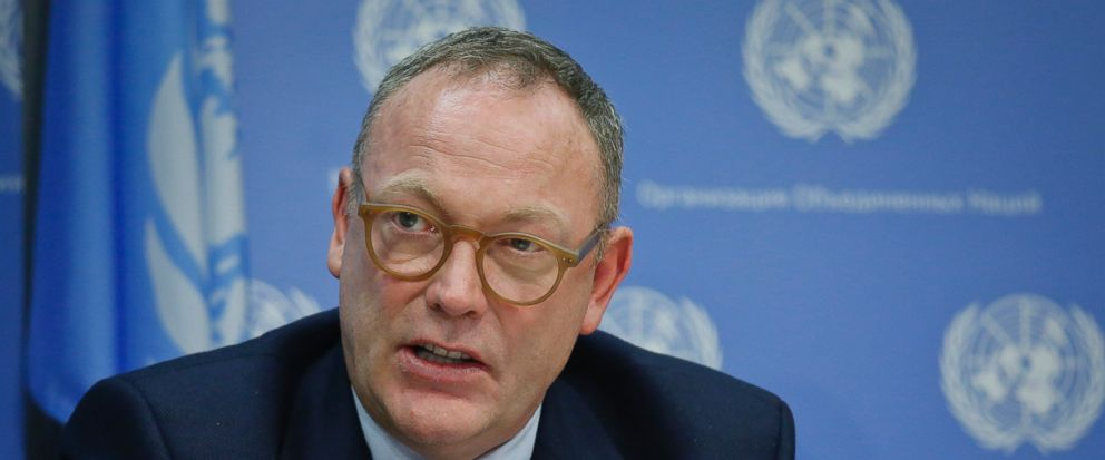 FILE - In this Oct. 21, 2016 file photo, Ben Emmerson, U.N. special investigator on counter-terrorism and human rights, holds a news conference on migration policies, at U.N. headquarters. Emmerson said at the end of a five-day visit to Sri Lanka Fri