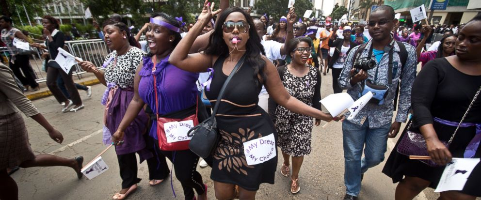 FILE - In this Monday, Nov. 17, 2014 file photo, Kenyan women protest for the right to wear whatever clothes they want, following an incident in which a mob of men tore the clothes off a woman they claimed was inappropriately dressed, leaving her nak