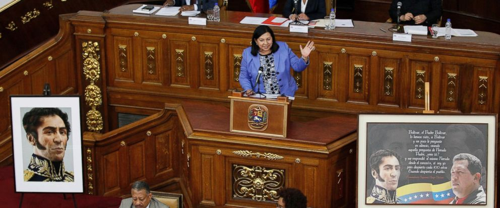 Constitutional Assembly delegate Carmen Melendez speaks from the podium during a session in Caracas, Venezuela, Tuesday, Aug. 8, 2017. The government-backed assembly that is recasting Venezuelas political system filed into the stately domed chamber