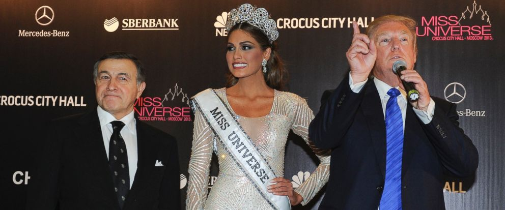FILE - In this file photo taken on Sunday, Nov. 10, 2013, Russian businessman Aras Agalarov, left, Miss Universe 2013 Gabriela Isler, from Venezuela, center, and pageant owner Donald Trump, of the United States attend the final of the 2013 Miss Unive