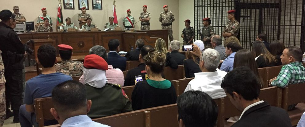 """A military court convenes in the case of a Jordanian soldier accused of shooting to death three U.S. military trainers at the gate of an air base, in Amman, Jordan, Monday. July 17, 2017. The defendant had pleaded """"not guilty,"""" saying he opened fire"""