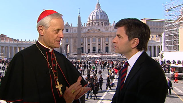 "PHOTO: Cardinal Donald Wuerl, Archbishop of Washington spoke with with ""Good Morning Americas"" George Stephanopoulos on Feb. 27, 2013."