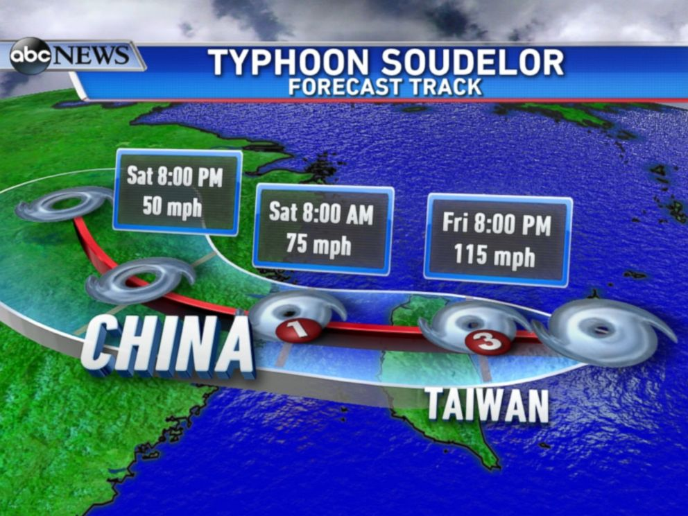 PHOTO: A map showing the rain forecast for Typhoon Soudelor.