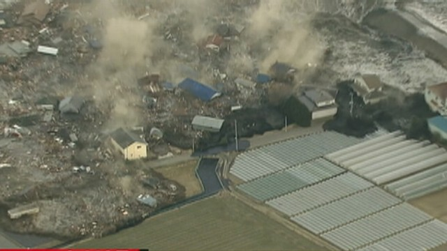 VIDEO: The powerful tsunami engulfs farms and homes in Sendai, Japan.
